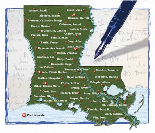Louisiana Poet's Map